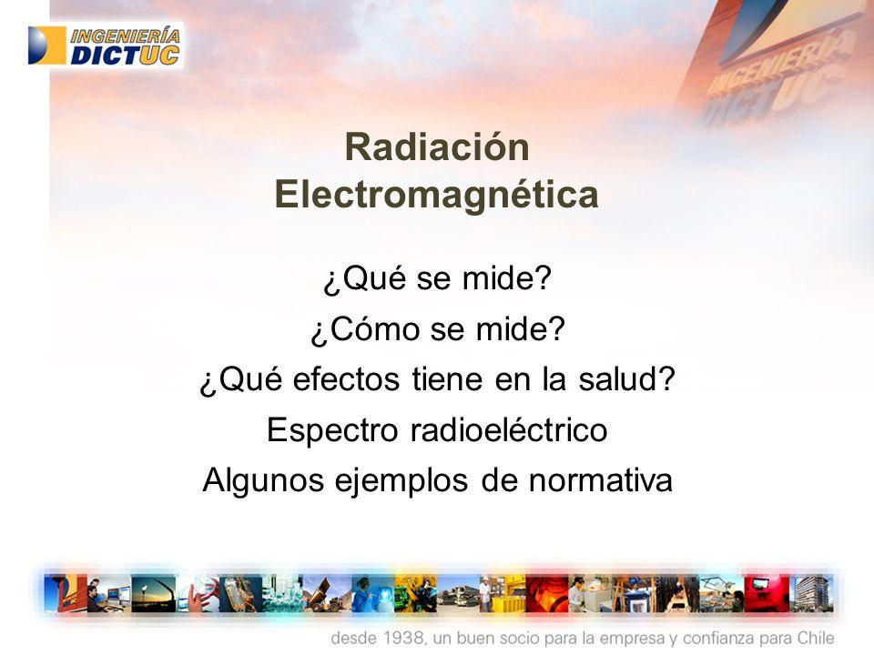 Radiación Electromagnética ¿Qué se mide? ¿Cómo se mide? ¿Qué efectos tiene en la salud? Espectro radioeléctrico Algunos ejemplos de normativa