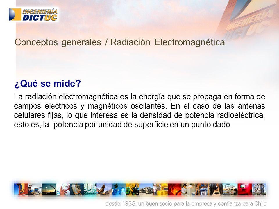 ¿Qué se mide? La radiación electromagnética es la energía que se propaga en forma de campos electricos y magnéticos oscilantes. En el caso de las ante