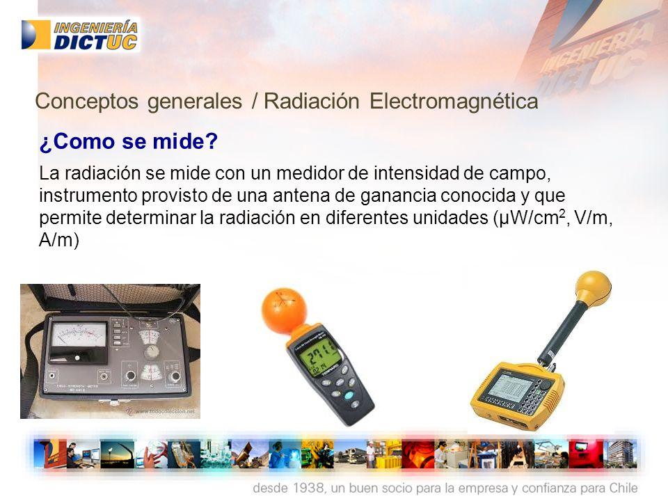 ¿Como se mide? La radiación se mide con un medidor de intensidad de campo, instrumento provisto de una antena de ganancia conocida y que permite deter