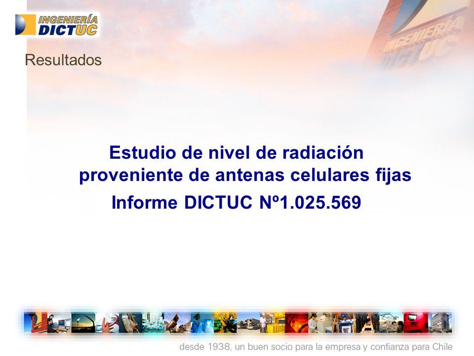 Estudio de nivel de radiación proveniente de antenas celulares fijas Informe DICTUC Nº1.025.569 Resultados