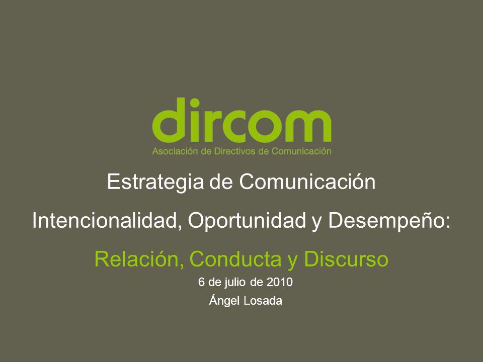 Titulo de la presentación Fecha Ponente www.dircom.org Estrategia de Comunicación Intencionalidad, Oportunidad y Desempeño: Relación, Conducta y Discurso 6 de julio de 2010 Ángel Losada