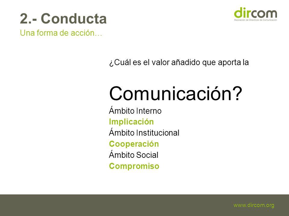Titulo de la presentación Fecha Ponente www.dircom.org 2.- Conducta Una forma de acción… ¿Cuál es el valor añadido que aporta la Comunicación.