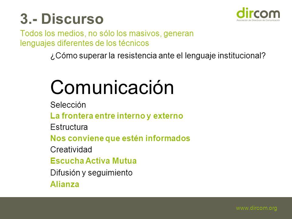 Titulo de la presentación Fecha Ponente www.dircom.org 3.- Discurso Todos los medios, no sólo los masivos, generan lenguajes diferentes de los técnicos ¿Cómo superar la resistencia ante el lenguaje institucional.