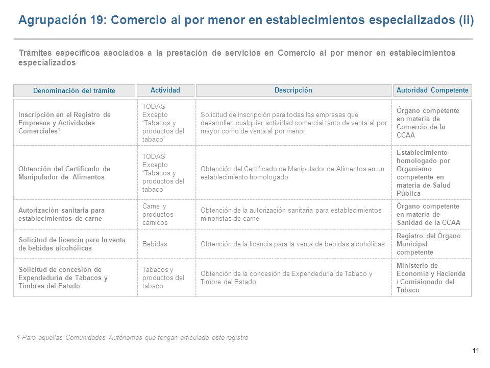 11 Agrupación 19: Comercio al por menor en establecimientos especializados (ii) Trámites específicos asociados a la prestación de servicios en Comerci