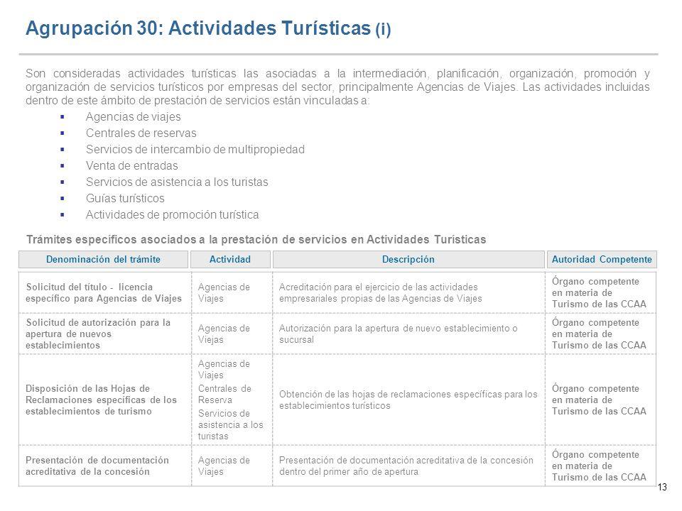 13 Agrupación 30: Actividades Turísticas (i) Son consideradas actividades turísticas las asociadas a la intermediación, planificación, organización, p