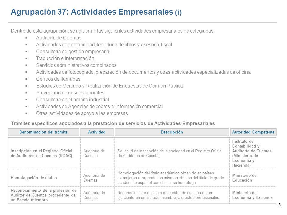 18 Agrupación 37: Actividades Empresariales (i) Dentro de esta agrupación, se aglutinan las siguientes actividades empresariales no colegiadas: Audito