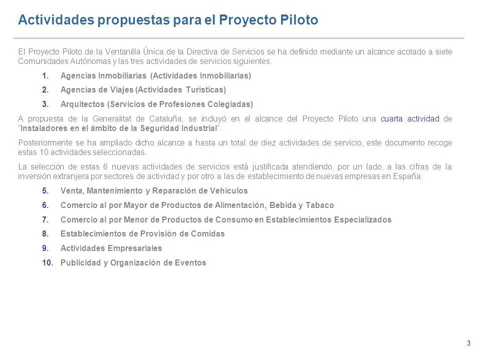 3 Actividades propuestas para el Proyecto Piloto El Proyecto Piloto de la Ventanilla Única de la Directiva de Servicios se ha definido mediante un alc