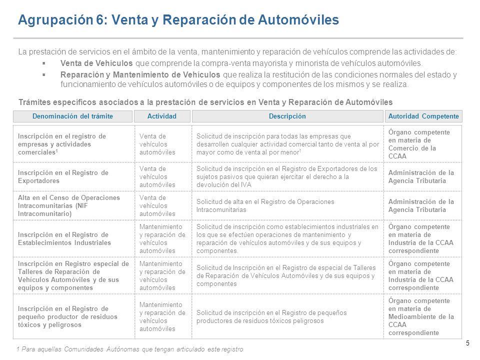 5 Agrupación 6: Venta y Reparación de Automóviles La prestación de servicios en el ámbito de la venta, mantenimiento y reparación de vehículos compren