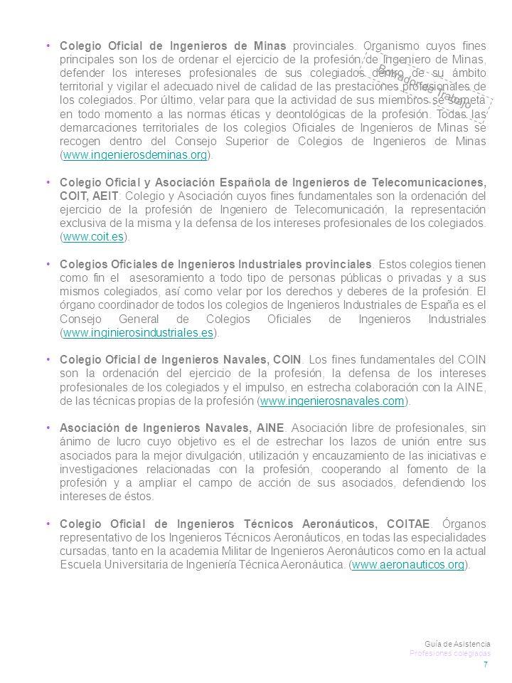 Colegio Oficial de Ingenieros de Minas provinciales.