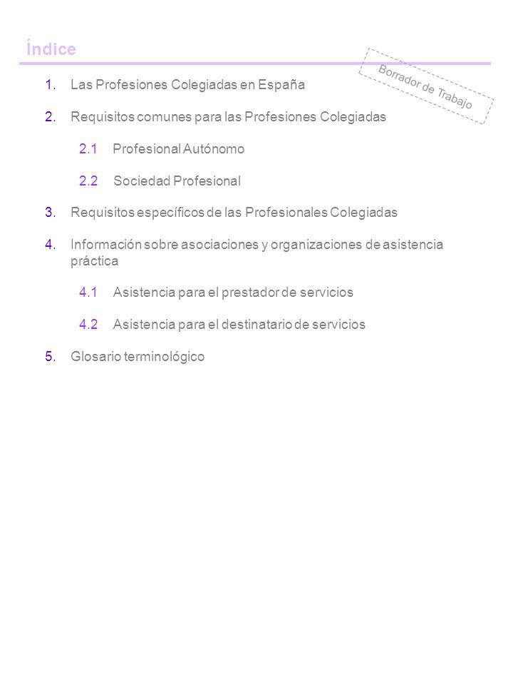 Índice 1.Las Profesiones Colegiadas en España 2.Requisitos comunes para las Profesiones Colegiadas 2.1Profesional Autónomo 2.2Sociedad Profesional 3.Requisitos específicos de las Profesionales Colegiadas 4.Información sobre asociaciones y organizaciones de asistencia práctica 4.1Asistencia para el prestador de servicios 4.2Asistencia para el destinatario de servicios 5.Glosario terminológico Borrador de Trabajo