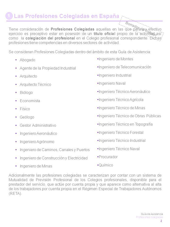 1 Las Profesiones Colegiadas en España Tiene consideración de Profesiones Colegiadas aquellas en las que para su efectivo ejercicio es preceptivo estar en posesión de un título oficial propio de la actividad así como la colegiación del profesional en el Colegio profesional correspondiente.