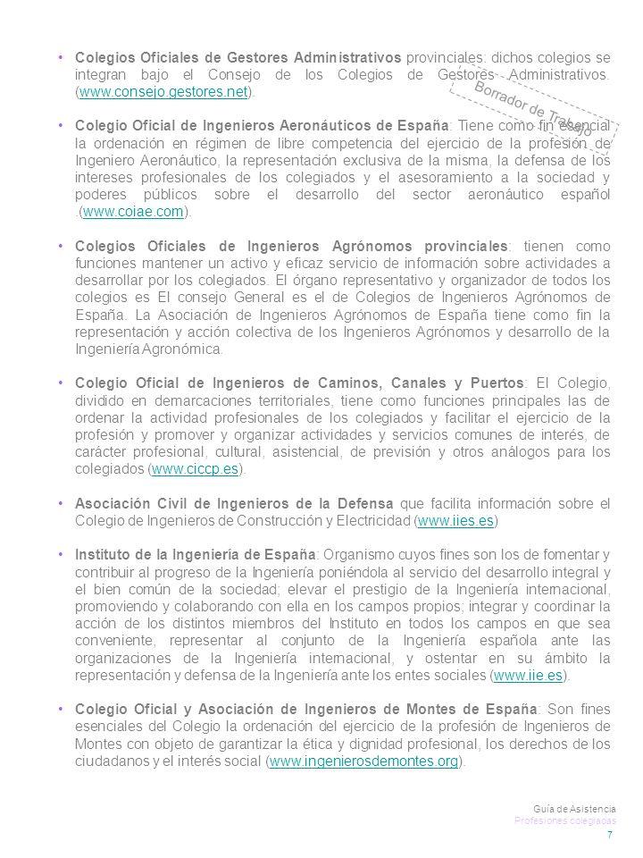 Colegios Oficiales de Gestores Administrativos provinciales: dichos colegios se integran bajo el Consejo de los Colegios de Gestores Administrativos.
