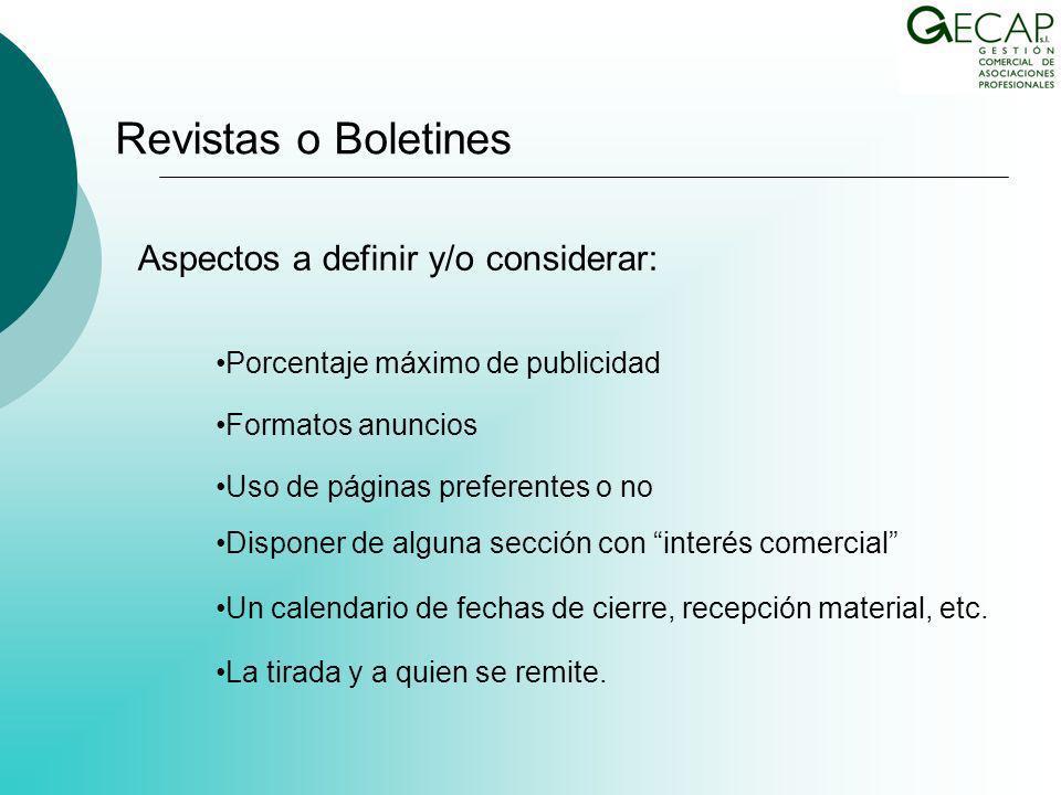 Aspectos a definir y/o considerar: Un calendario de fechas de cierre, recepción material, etc.