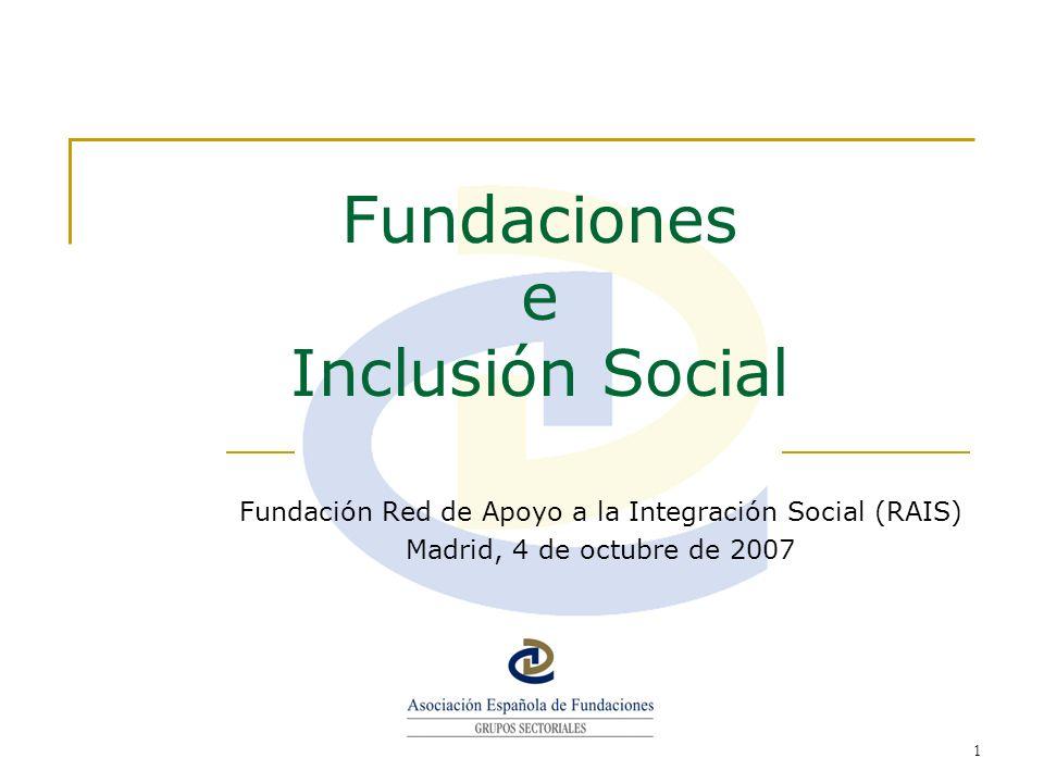 2 Datos más relevantes Número de Fundaciones que han marcado la casilla de Inserción-Inclusión Social ( cuestionario del Directorio de Fundaciones Españolas ): 362 fundaciones.