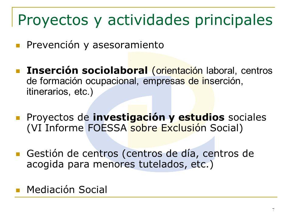 7 Proyectos y actividades principales Prevención y asesoramiento Inserción sociolaboral ( orientación laboral, centros de formación ocupacional, empre