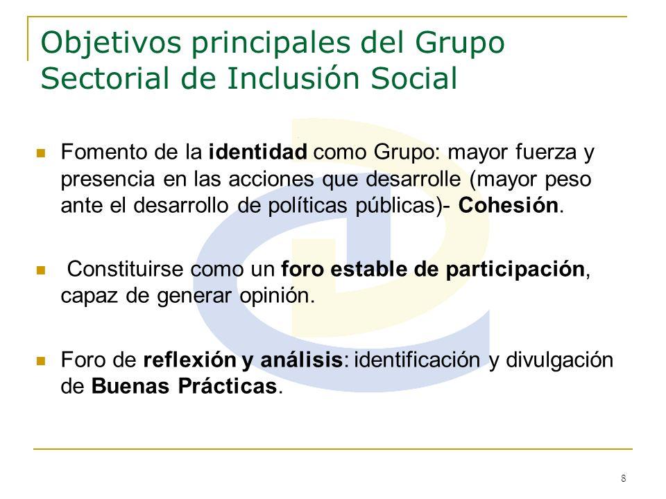 8 Objetivos principales del Grupo Sectorial de Inclusión Social Fomento de la identidad como Grupo: mayor fuerza y presencia en las acciones que desar