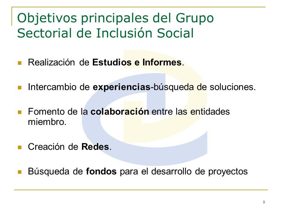 9 Objetivos principales del Grupo Sectorial de Inclusión Social Realización de Estudios e Informes. Intercambio de experiencias-búsqueda de soluciones