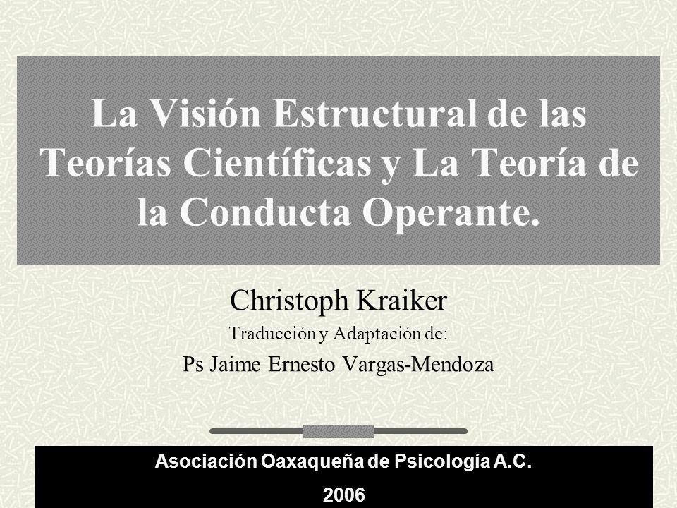 La Visión Estructural de las Teorías Científicas y La Teoría de la Conducta Operante.