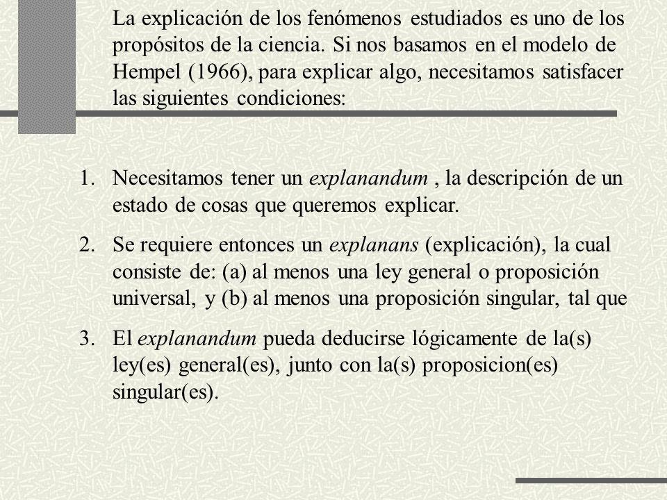 De lo anterior se desprende que para que una teoría pueda explicar las cosas, debe contener al menos una ley general del tipo: Para todas las x: si x tiene la cualidad F, entonces también tiene la cualidad G.