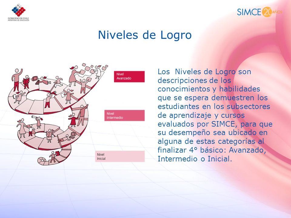 Niveles de Logro Los Niveles de Logro son descripciones de los conocimientos y habilidades que se espera demuestren los estudiantes en los subsectores