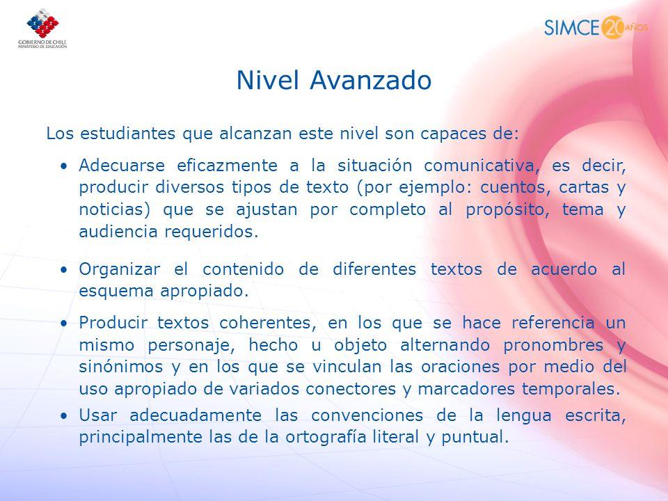 Nivel Avanzado Los estudiantes que alcanzan este nivel son capaces de: Adecuarse eficazmente a la situación comunicativa, es decir, producir diversos