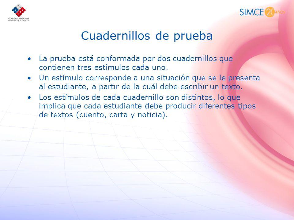 Cuadernillos de prueba La prueba está conformada por dos cuadernillos que contienen tres estímulos cada uno. Un estímulo corresponde a una situación q