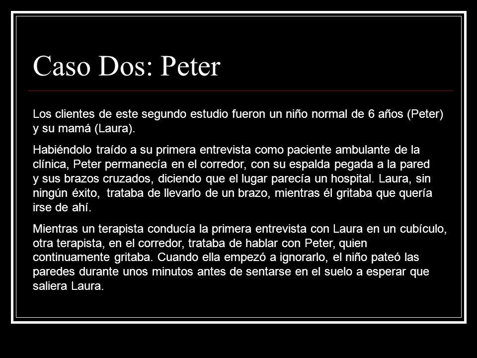 Caso Dos: Peter Los clientes de este segundo estudio fueron un niño normal de 6 años (Peter) y su mamá (Laura). Habiéndolo traído a su primera entrevi