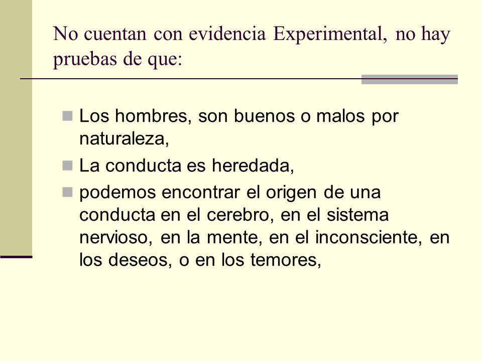 No cuentan con evidencia Experimental, no hay pruebas de que: Los hombres, son buenos o malos por naturaleza, La conducta es heredada, podemos encontr