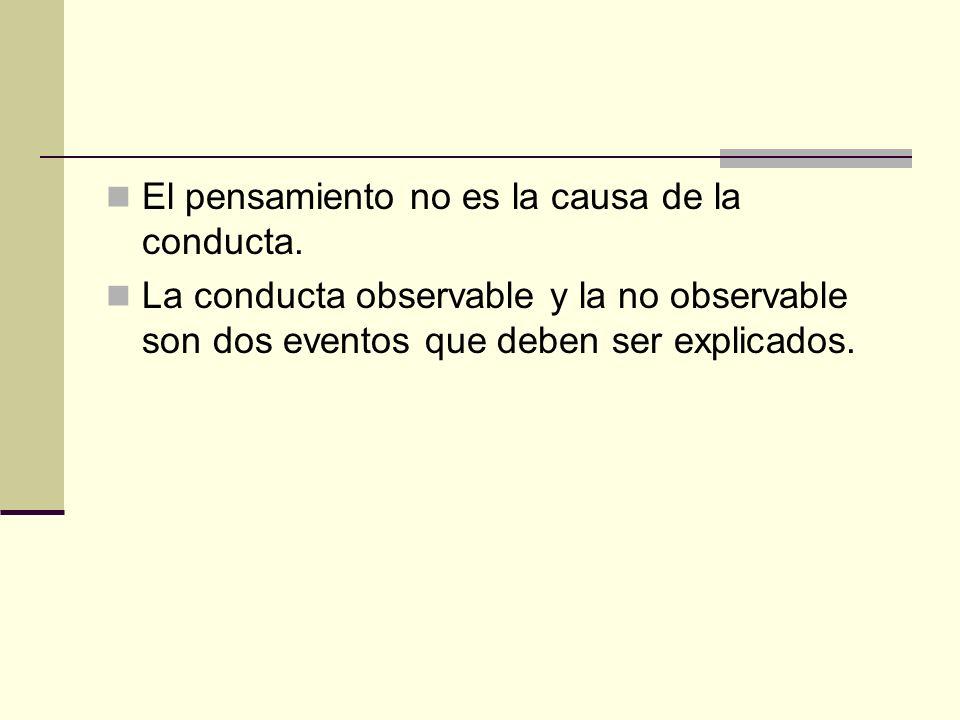 El pensamiento no es la causa de la conducta. La conducta observable y la no observable son dos eventos que deben ser explicados.