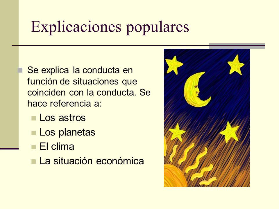 Explicaciones populares Se explica la conducta en función de situaciones que coinciden con la conducta. Se hace referencia a: Los astros Los planetas