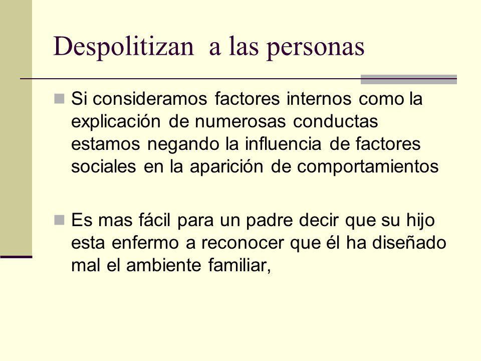 Despolitizan a las personas Si consideramos factores internos como la explicación de numerosas conductas estamos negando la influencia de factores soc