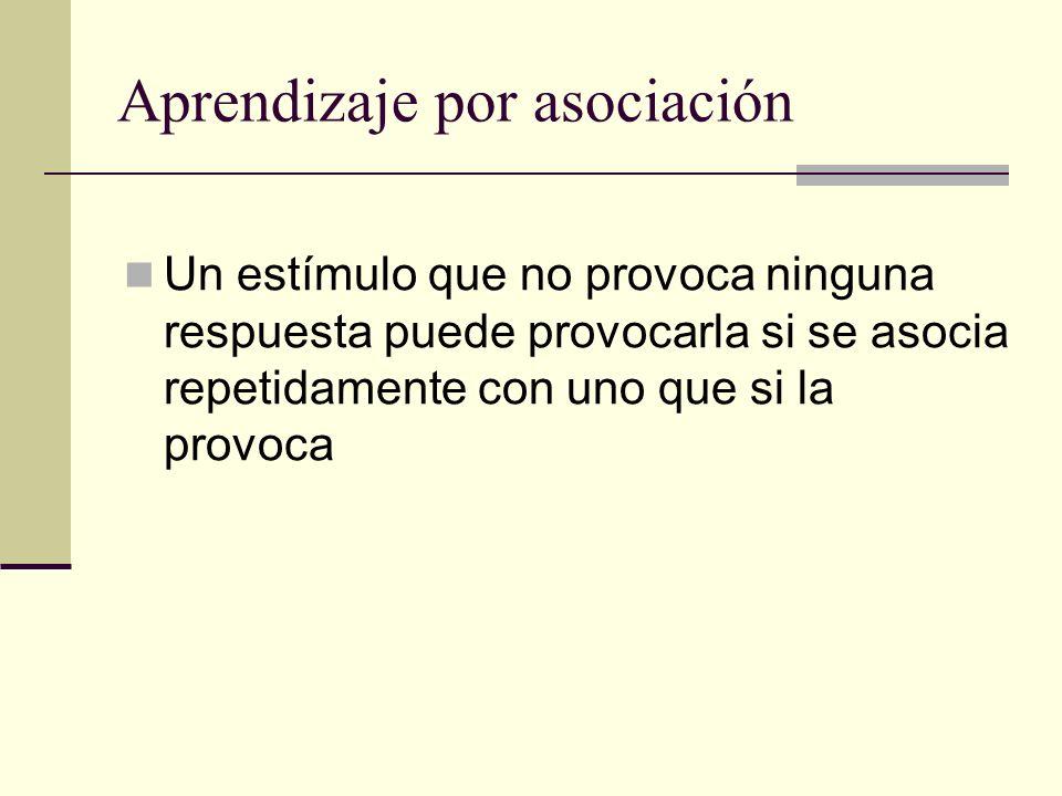 Aprendizaje por asociación Un estímulo que no provoca ninguna respuesta puede provocarla si se asocia repetidamente con uno que si la provoca