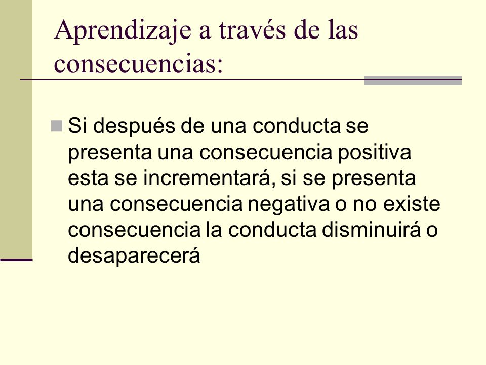 Aprendizaje a través de las consecuencias: Si después de una conducta se presenta una consecuencia positiva esta se incrementará, si se presenta una c