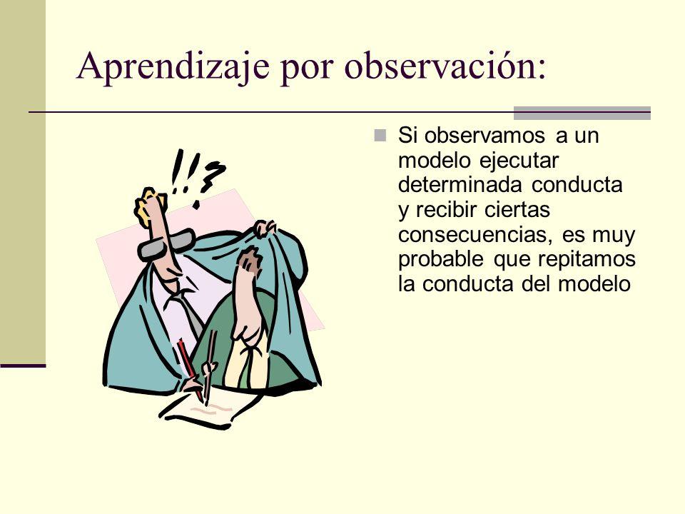 Aprendizaje por observación: Si observamos a un modelo ejecutar determinada conducta y recibir ciertas consecuencias, es muy probable que repitamos la