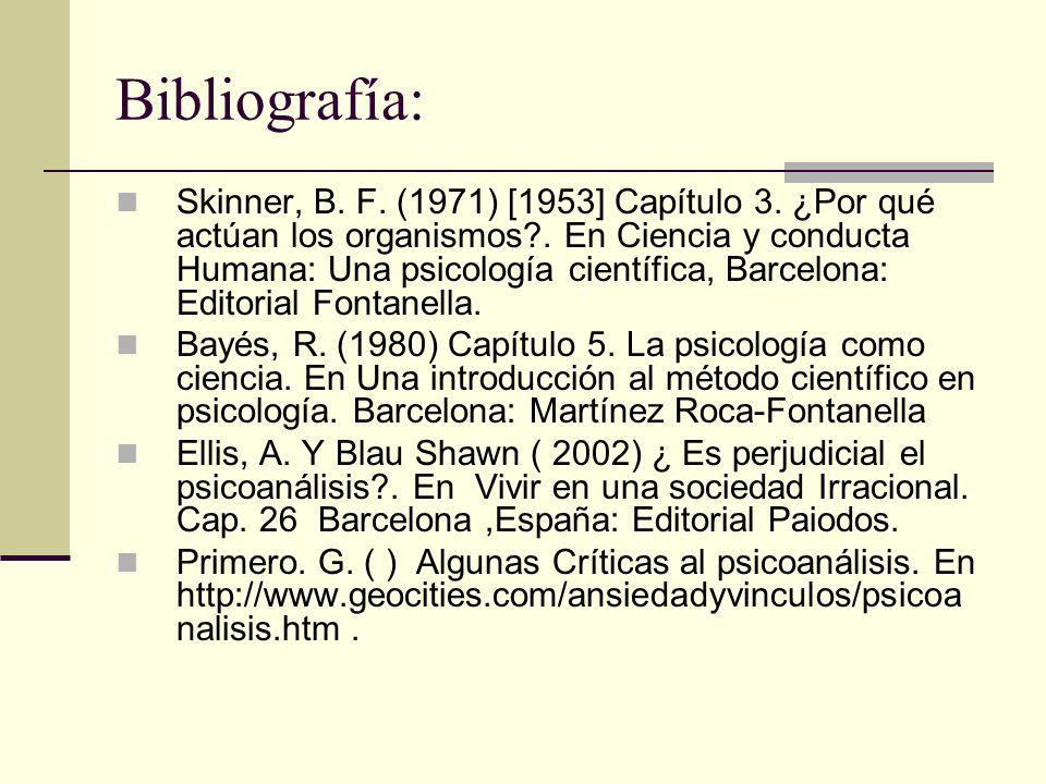 Bibliografía: Skinner, B. F. (1971) [1953] Capítulo 3. ¿Por qué actúan los organismos?. En Ciencia y conducta Humana: Una psicología científica, Barce
