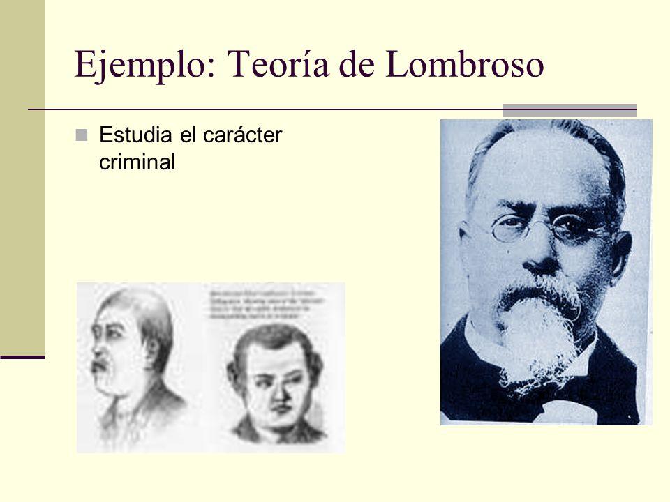 Ejemplo: Teoría de Lombroso Estudia el carácter criminal