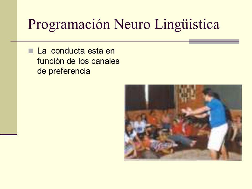 Programación Neuro Lingüistica La conducta esta en función de los canales de preferencia