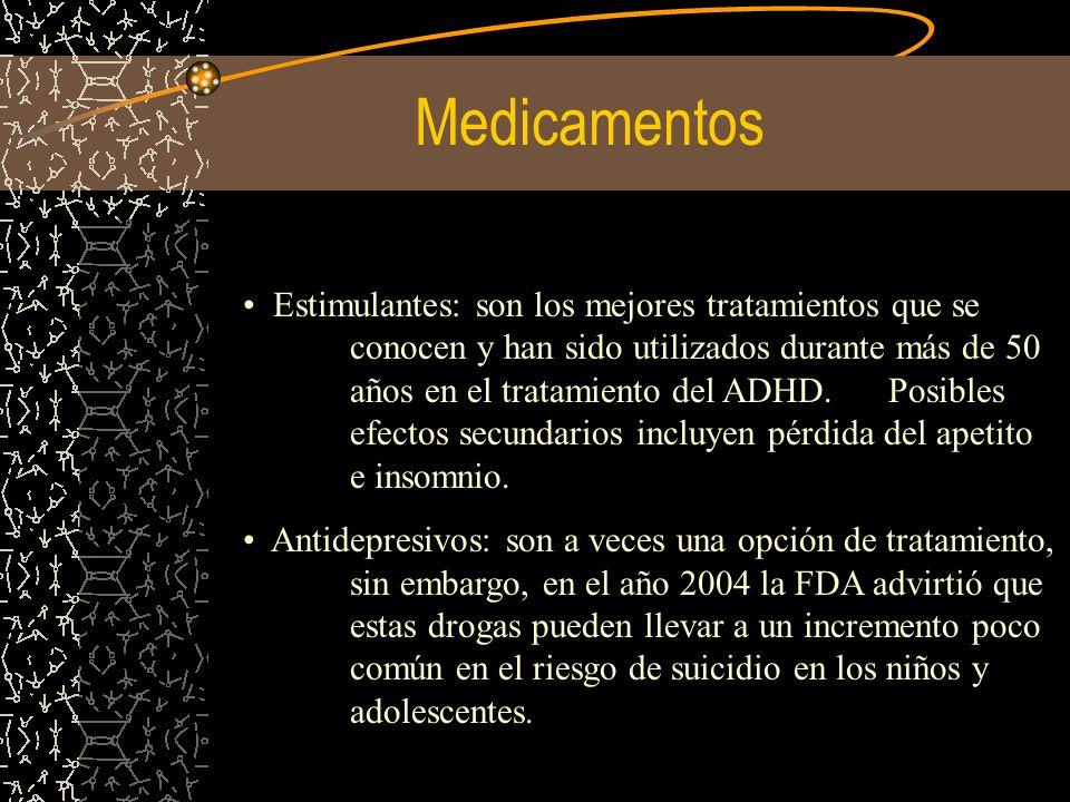 Medicamentos Estimulantes: son los mejores tratamientos que se conocen y han sido utilizados durante más de 50 años en el tratamiento del ADHD. Posibl