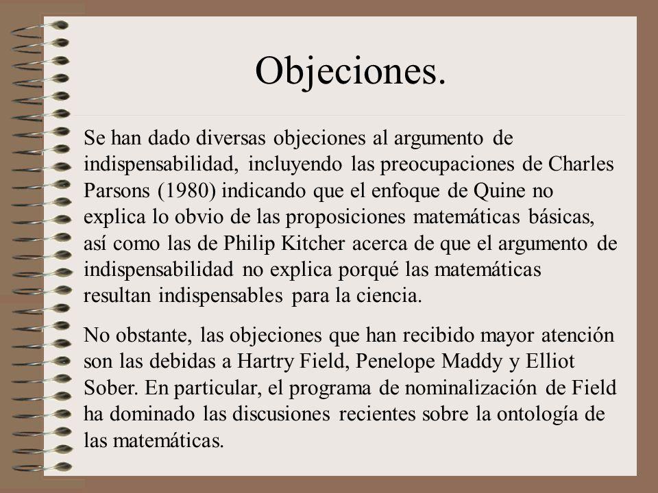 Objeciones. Se han dado diversas objeciones al argumento de indispensabilidad, incluyendo las preocupaciones de Charles Parsons (1980) indicando que e