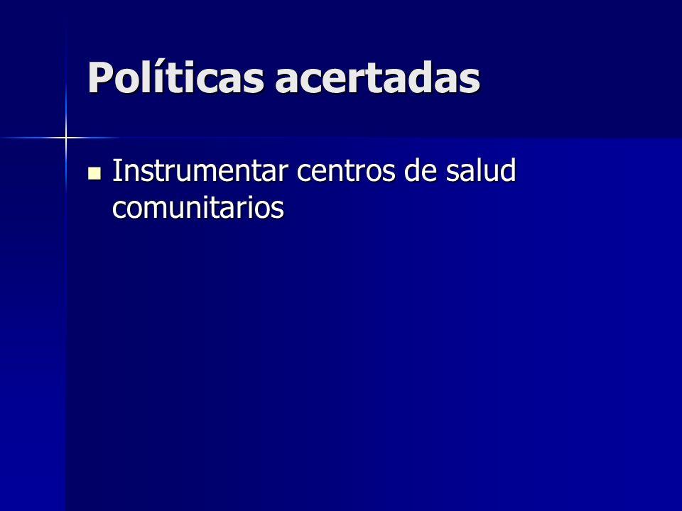Políticas acertadas Instrumentar centros de salud comunitarios Instrumentar centros de salud comunitarios