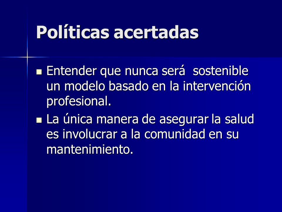 Políticas acertadas Entender que nunca será sostenible un modelo basado en la intervención profesional.