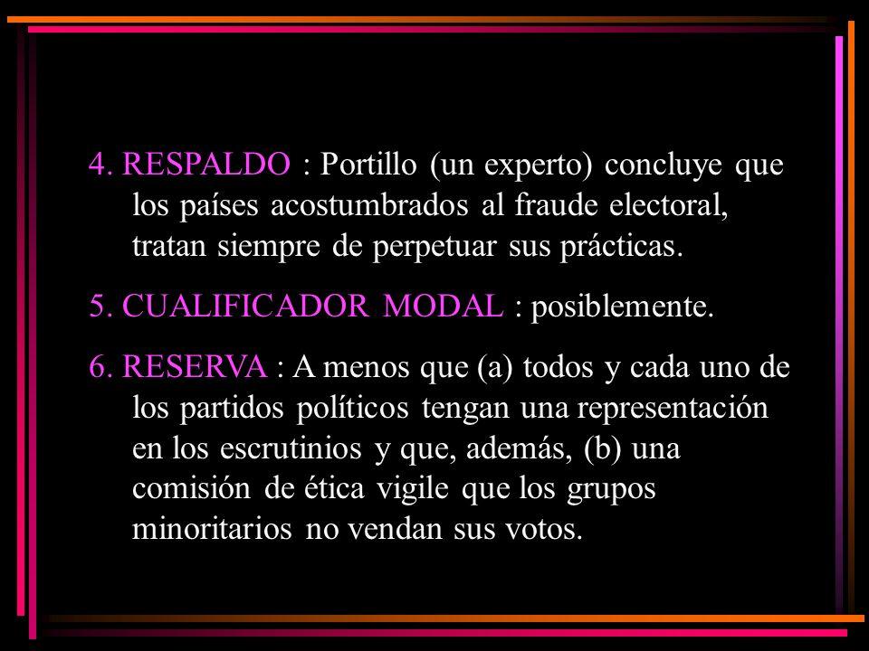 4. RESPALDO : Portillo (un experto) concluye que los países acostumbrados al fraude electoral, tratan siempre de perpetuar sus prácticas. 5. CUALIFICA