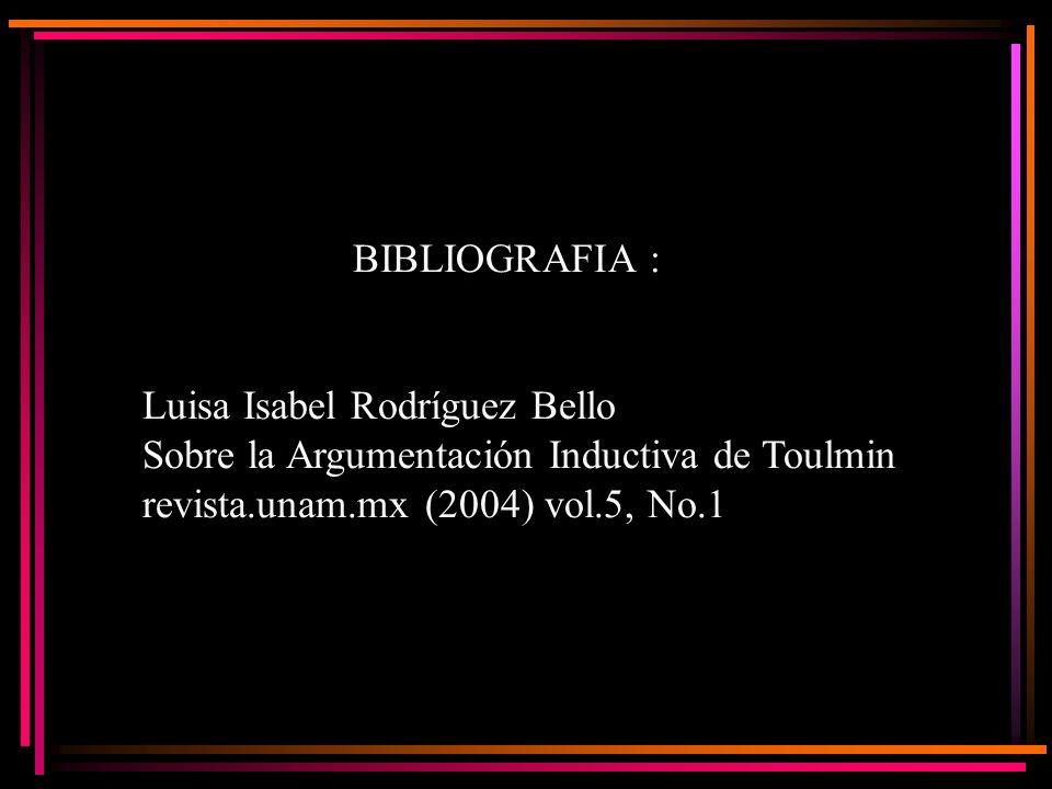 BIBLIOGRAFIA : Luisa Isabel Rodríguez Bello Sobre la Argumentación Inductiva de Toulmin revista.unam.mx (2004) vol.5, No.1