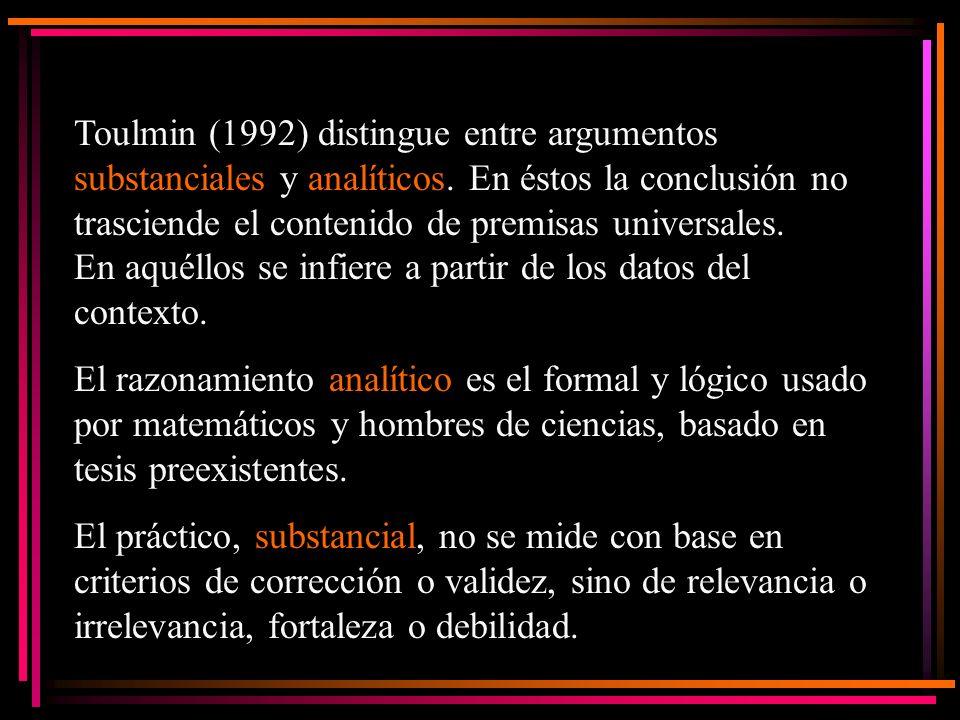 Toulmin (1992) distingue entre argumentos substanciales y analíticos. En éstos la conclusión no trasciende el contenido de premisas universales. En aq