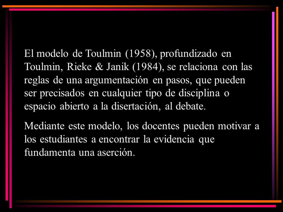 El modelo de Toulmin (1958), profundizado en Toulmin, Rieke & Janik (1984), se relaciona con las reglas de una argumentación en pasos, que pueden ser
