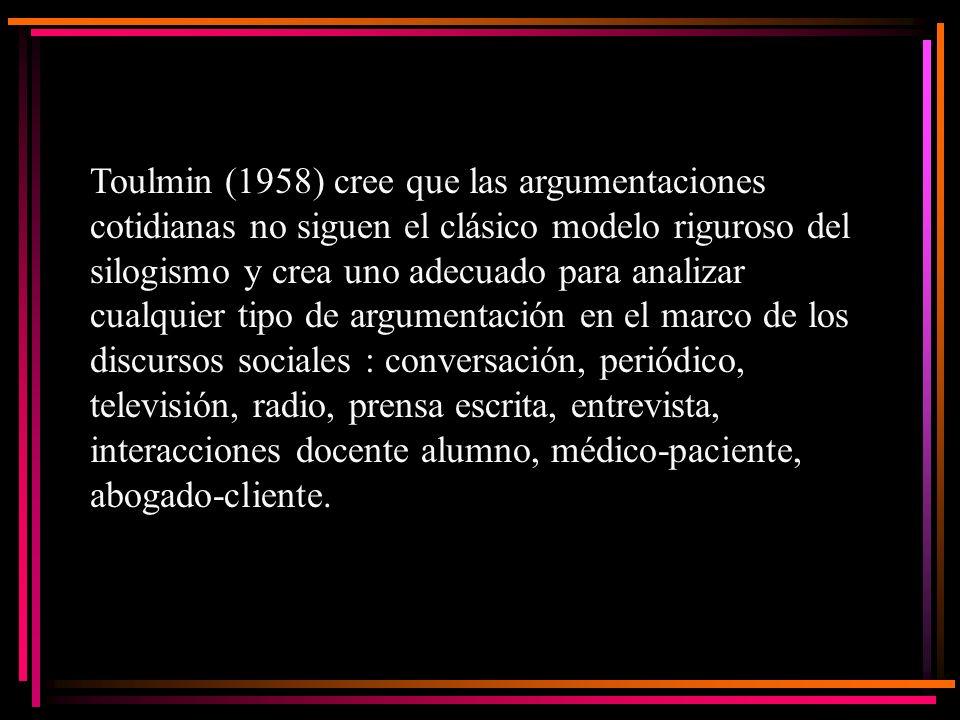 Toulmin (1958) cree que las argumentaciones cotidianas no siguen el clásico modelo riguroso del silogismo y crea uno adecuado para analizar cualquier