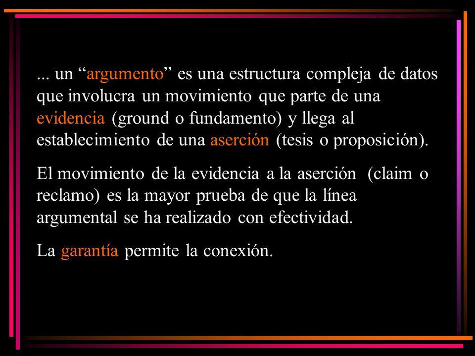 ... un argumento es una estructura compleja de datos que involucra un movimiento que parte de una evidencia (ground o fundamento) y llega al estableci