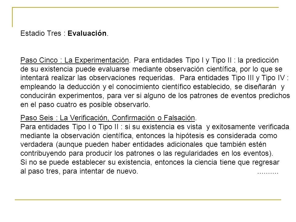 Estadio Tres : Evaluación. Paso Cinco : La Experimentación. Para entidades Tipo I y Tipo II : la predicción de su existencia puede evaluarse mediante