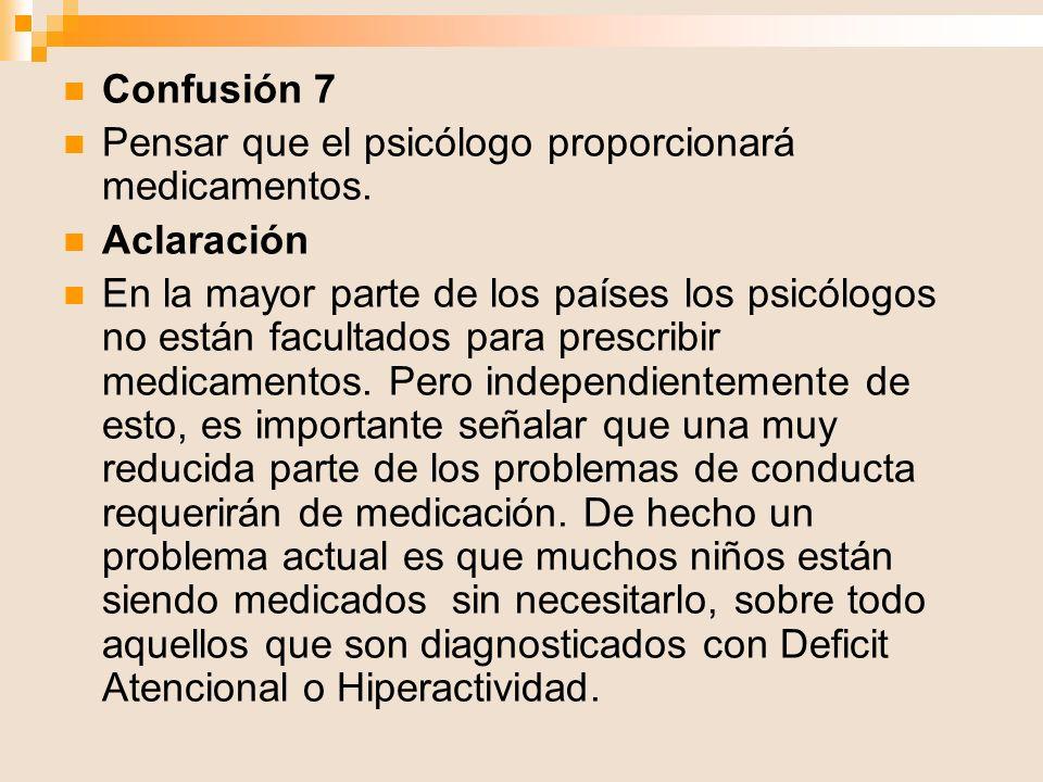 Confusión 7 Pensar que el psicólogo proporcionará medicamentos. Aclaración En la mayor parte de los países los psicólogos no están facultados para pre