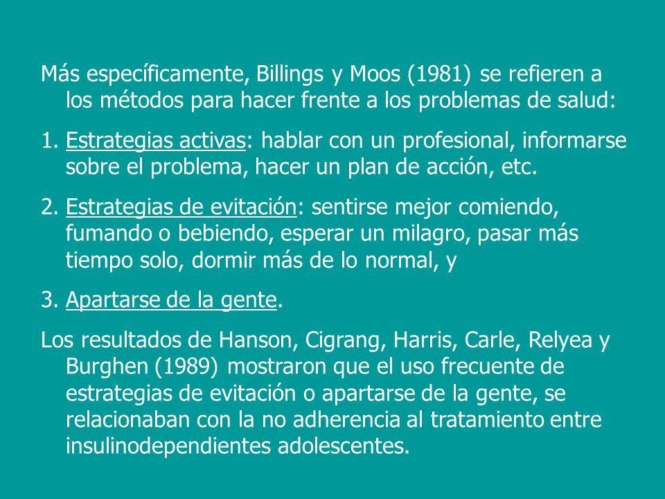Más específicamente, Billings y Moos (1981) se refieren a los métodos para hacer frente a los problemas de salud: 1.Estrategias activas: hablar con un